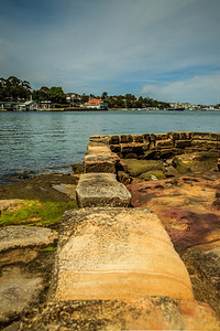 Stone wall from the Bedlam Point Ferry, dating to 1834.