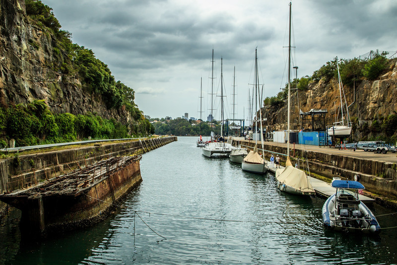 Sydney, Australia<br /> Woolwich Dock, Hunters Hill. On the left is the caisson, which blocked the far end when the dock was used dry.