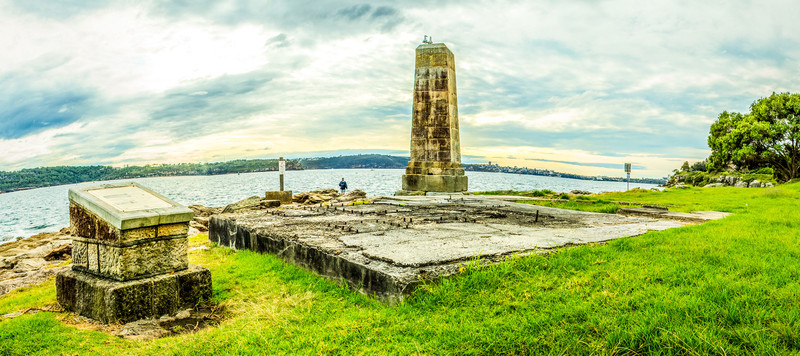 Green Point, Watson's Bay, Sydney, NSW, Australia<br /> Green Point Obelisk. Erected in 1858 to mark the eastern passage into the harbour (the Eastern Channel is near this point); one of many erected throughout the harbour in this period.