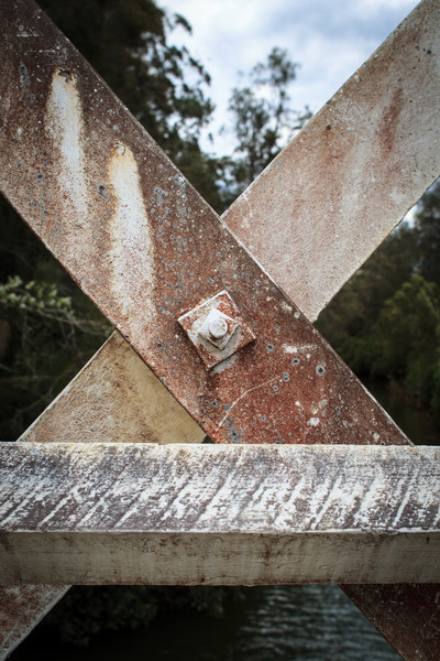 Gunderman, NSW, Australia<br /> Detail from Allan Truss bridge over Mill Creek. Built 1928-1930.