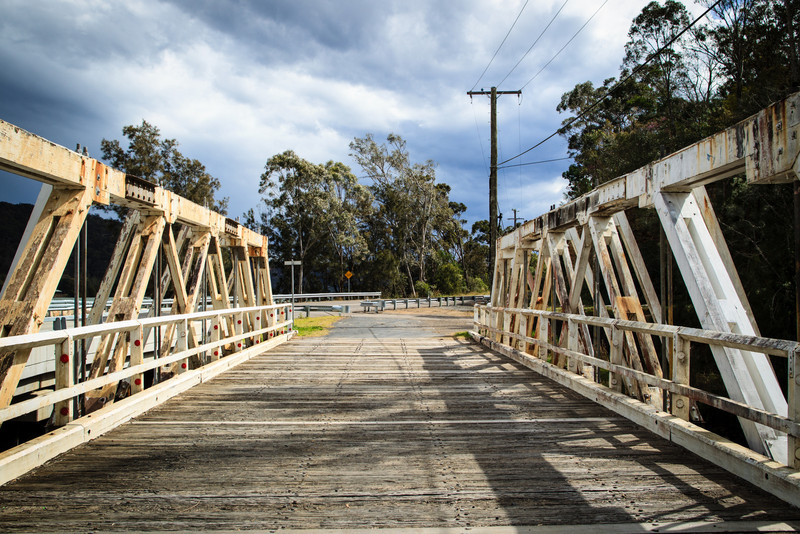 Gunderman, NSW, Australia<br /> Bridges over Mill Creek. Allan Truss bridge(1928-1930), and modern replacement (2010 2012).
