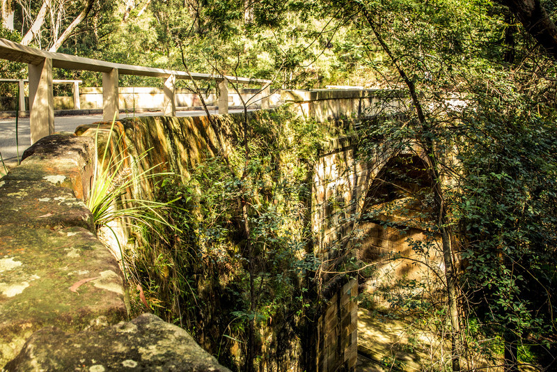 Glenbrook, Blue Mountains, Sydney, NSW, Australia<br /> The oldest stone bridge on the Australian mainland, Lennox Bridge (aka The Horseshoe Bridge) over Laptsone Creek, Blue Mountains, Sydney. Opened in 1833.