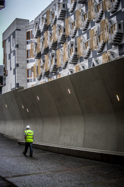Edinburgh, Scotland<br /> The New Scottish Parliament building under construction.