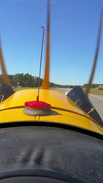 Take-off in Piper Cub from Lake Norman Air Park runway