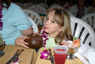 She got a big kick out of drinking from a coconut