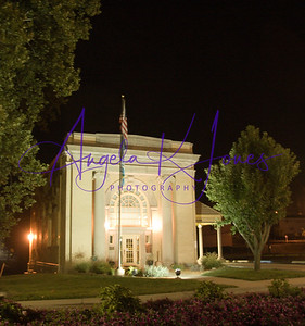 A night view of the West Baden Office of Springs Valley Bank & Trust Company which is located just past the archway entrance to the West Baden Springs Hotel.