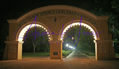 West Baden Springs Hotel Archway Entrance at night