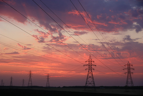 Power Lines and Pink Sky