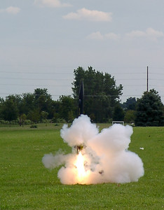 "Kevin Trueblood's ""Bad 2 the Bone"" just after ignition at the August 14, 2004 CIA launch.  Photo by Greg Smith."