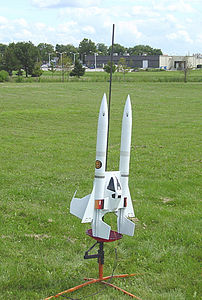 Kevin Trueblood's upscaled Buck Rogers Starfighter prior to liftoff at the August 14, 2004 CIA launch.  Photo by Kevin Trueblood.