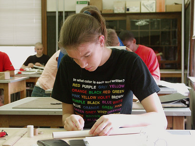 Students build their rockets at the Illinois Aerospace Institute's annual workshop for high school students, held on the University of Illinois campus.  Photo by Greg Smith on July 5, 2004.