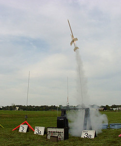 Liftoff of Mark Joseph's Arcie II radio-controlled boost glider.  Photo by Greg Smith at the September 11, 2004 CIA launch.