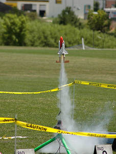 A nice Space Shuttle model lifts off.  Photo by Alan Carroll.