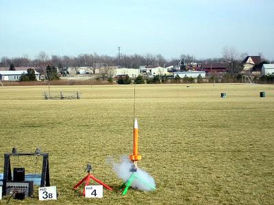 All motors burning, Mark Joseph's Cheap, Dumb Rocket February 12,2005. photo by Christopher Brian Deem