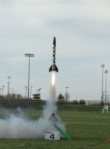 "Greg Smith's ""The Cow"" lifts off with an Aerotech F20-4 motor at the April 9, 2005 CIA launch.  Photo by Greg Smith."