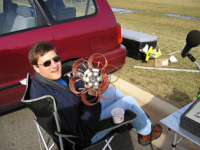 A relaxed Mark Joseph shows the business end of his Cheap, Dumb Rocket at the February 12,2005 launch. photo by Christopher Brian Deem