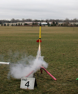 Chris Deem's Novi lifts off with a C11-3 motor.  Photo by Greg Smith.