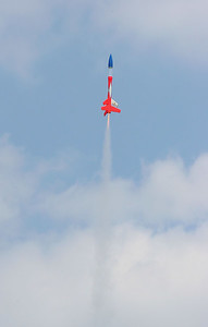 Greg Smith's modified Estes Loadstar ascending with a D12-0 booster, and a B6-6 in the upper stage.  Photo by Greg Smith