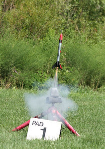 Kyle Tendick, attending his first CIA launch, flew his Estes MaxTrax several times on C6-5 motors.  The rocket always flew well, but the results from the onboard altimeter were erratic.  Photo by Greg Smith