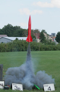 Nick Cassavaugh's Sumo at the start of a successful flight with a G75 Black Jack motor.  Photo by Greg Smith