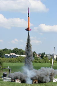 Another good liftoff for Stephen's Predator, a kit from Public Enemy Rockets that he used for his Level 1 high power certification at the July 22 launch.  Photo by Greg Smith