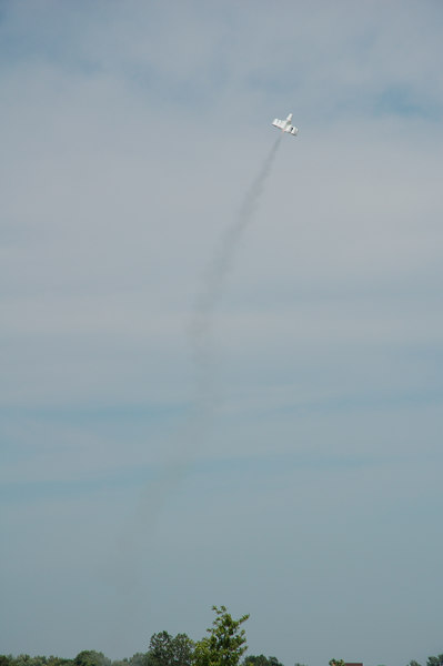 Mark Joseph's UFFO styrofoam cup rocket in flight. Photo by Robert Brunner
