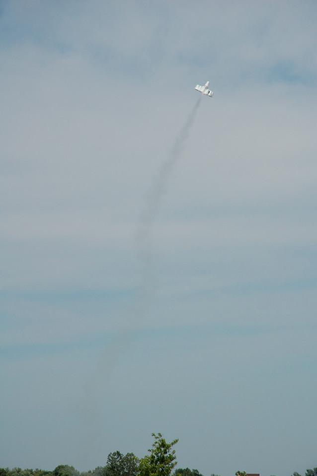 Mark Joseph's UFFO styrofoam cup rocket in flight. Photo by Robert Brunner