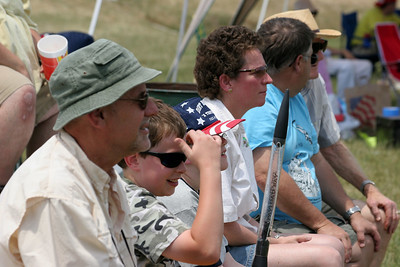 Spectators watching the rockets lift off and waiting for their own chance to fly.  About 120 people attended GARLO 2006.  Photo by Greg Smith