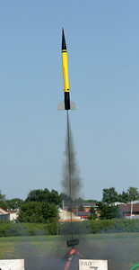 Launch of Greg Smith's BecTec WAC Corporal with a RoadRunner Rocketry F42 motor.  Photo by Greg Smith