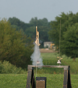 Liftoff of Jeff Deem's replica of the Competition Model Rockets (CMR) Manta glider from the early 1970s.  It made an excellent flight.  Photo by Greg Smith