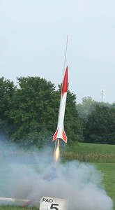 Liftoff of an Aerotech Initiator.  Photo by Greg Smith