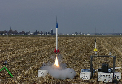 One of Steve Juneau's rockets takes off. photo by Christopher Brian Deem