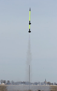 Liftoff of Kevin's two-stage model.  It made a totally successful flight.  Photo by Greg Smith