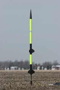 Kevin's two-stage rocket before launch.  Photo by Greg Smith