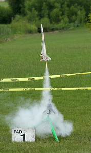 Liftoff of Greg Smith's Estes Orbital Transport with a C6-3 motor.  Photo by Greg Smith