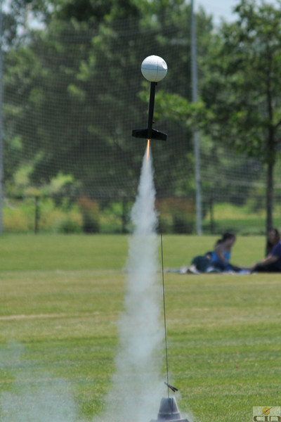 Jonathan Sivier's Death Star lifts off with a C6-3 motor.  Photo by Alan M. Carroll