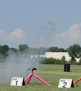 Scott Stromley's Monocopter shortly after takeoff with a C6-0 motor.  Photo by Greg Smith