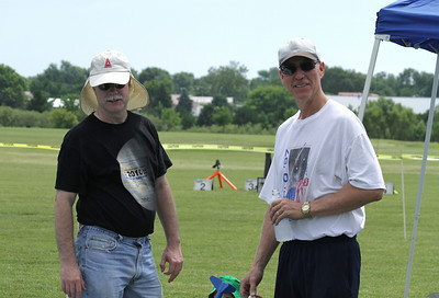 Jonathan and Dave in the prep area.  Jonathan is modeling the official GARLO 2010 T-shirt.  The black shirt looked great, but was not the best choice for comfort in the 95° weather this year.  Photo by Greg Smith