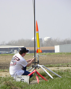 Dean Babcock  loads up his AeroTech Warthog on a very nice looking launch pad that he built. photo by Christopher Brian Deem