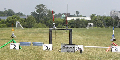 From left to right, an Alpha III, Heidi Krahling's Editor (red pencil rocket), Heidi's Rocket Lobster, and an Astra. photo by Christopher Brian Deem