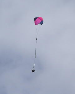 Successful recovery of Gary Slater's upscaled Semroc Hydra, his Level II certification flight.  Photo by Greg Smith