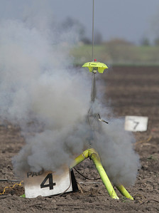 Chris Deem's heavily modified Estes Snitch lifts off on an E11-5J reloadable motor.  Photo by Greg Smith