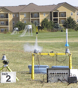 Steve Dramstad's 13mm rocket, which was lost in the weeds around the stream. photo by Christopher Brian Deem