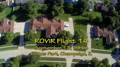 "Video from the fourteenth flight of the ROViR (Rocket Onboard VIdeo Recorder) model rocket payload system, September 13, 2014 at Dodds Park in Champaign, Illinois. Components included the 2.1"" diameter Sunspot 57 booster rocket, the ROViR-1 payload container with a Replay XD 1080 camcorder, and an Aerotech H128-MW motor. The video has been slowed to half of actual speed for more comfortable viewing. The payload was caught by thermal activity during descent and managed to stay aloft for 283 seconds (4:43), landing in a tree in the residential area southwest of the park. We didn't locate the payload section until 3-1/2 months later, after the leaves had fallen from the trees. It was finally recovered and the video processed on December 28, 2014, after hanging outdoors in the weather for 106 days. Video by Greg Smith"