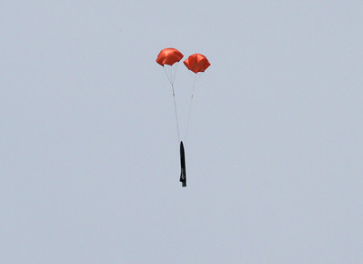 "ROViR-2 payload section with two 18"" parachutes.  Photo by Greg Smith"