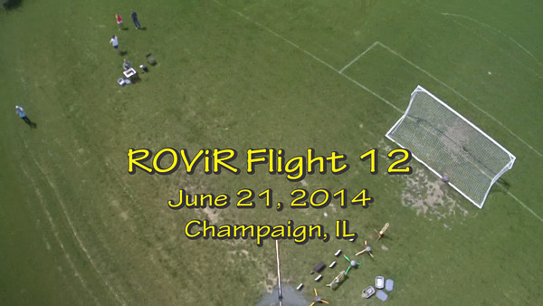 "Twelfth flight of the ROViR (Rocket Onboard VIdeo Recorder) model rocket payload system, June 21, 2014 at Dodds Park in Champaign, Illinois. Components included the 2.1"" diameter Helios-3 booster rocket, the ROViR-2 payload container with a Replay XD 1080 camcorder, and an Aerotech G80-7 motor. The video has been slowed to half of actual speed for more comfortable viewing. Video by Greg Smith"