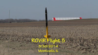 """Fifth flight of the ROViR (Rocket Onboard VIdeo Recorder) model rocket payload system, March 30, 2014 at Monticello, Illinois. Components included the 2.1"""" diameter Sunspot 57 booster rocket, the ROViR-2 payload container with a Replay XD 1080 camcorder, and an Aerotech H238-M motor. The payload recovers separately from the booster on two parachutes for improved stability during the descent. The video has been slowed to half of actual speed for more comfortable viewing.  Video by Greg Smith"""