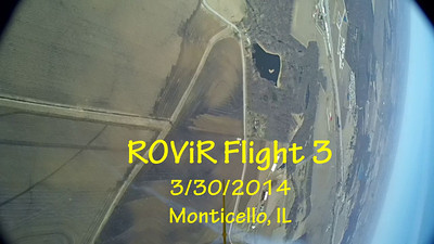 """Third flight of the ROViR (Rocket Onboard VIdeo Recorder) model rocket payload system, March 30, 2014 at Monticello, Illinois. Components included the 2.1"""" diameter Sunspot 57 booster rocket, the ROViR-2 payload container with a Replay XD 1080 camcorder, and an Aerotech H238-M motor. On this flight. only one of the three parachutes was ejected from the rocket body, which resulted in a wild and unstable descent, much faster than intended. The video has been slowed to half of actual speed for more comfortable viewing.  Video by Greg Smith"""