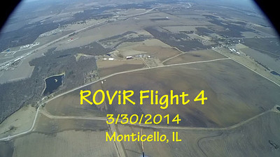 """Fourth flight of the ROViR (Rocket Onboard VIdeo Recorder) model rocket payload system, March 30, 2014 at Monticello, Illinois. Components included the 2.1"""" diameter Helios-3 booster rocket, the ROViR-1 payload container with a Replay XD 1080 camcorder, and an Aerotech H128-M motor. The payload recovers separately from the booster on two parachutes for improved stability during the descent. The video has been slowed to half of actual speed for more comfortable viewing.  Video by Greg Smith"""