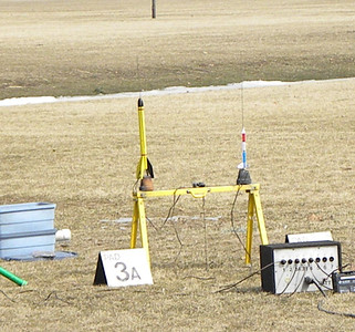 Steve Dramstad's Big Bertha, and Greg Smith's paper 4H Rocket. photo by Christopher Brian Deem